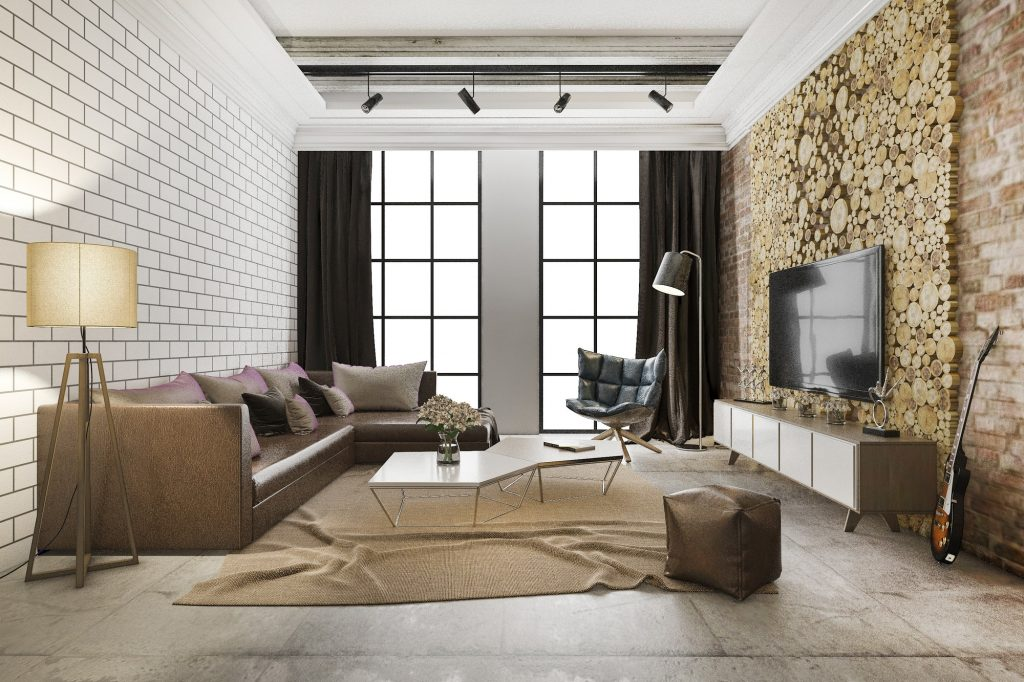 3d rendering luxury and modern living room with brick decor