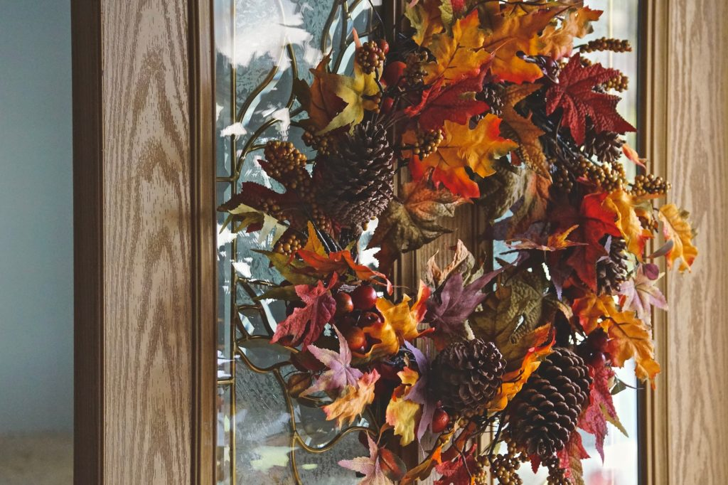 Beautiful Fall leaves on a wreath for the front door