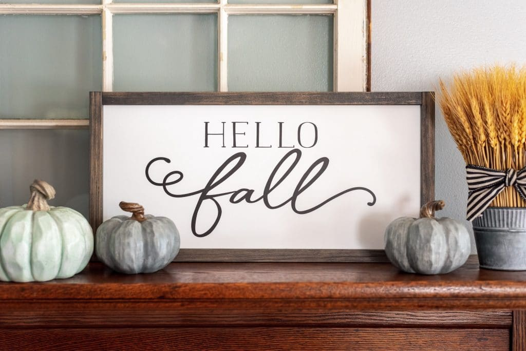 Hello Fall sign with gray pumpkins - stylish fall decor