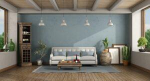 Retro living room sofa and wine cabinet