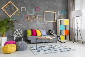 Home space with wall frames